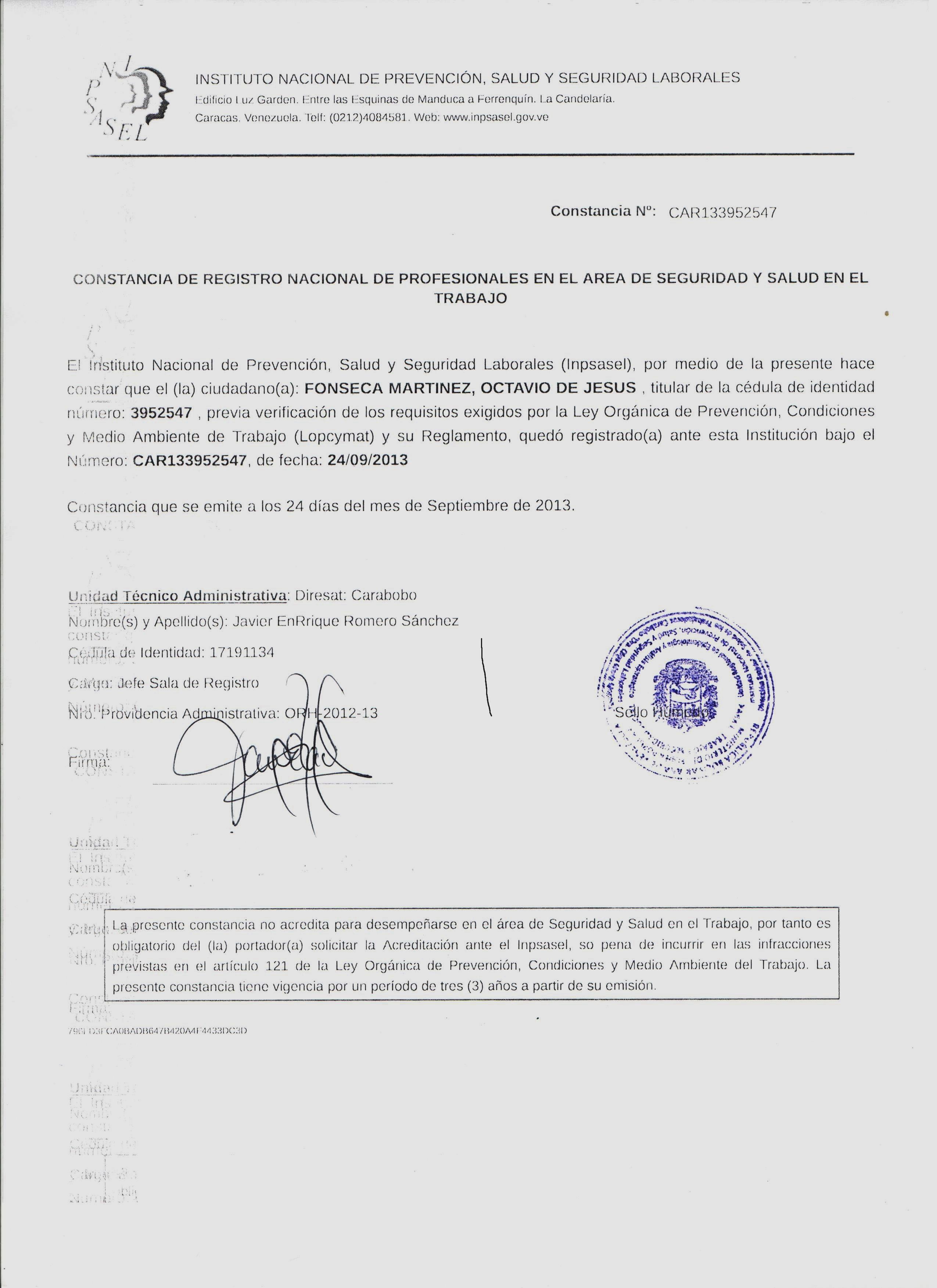 Certificado Octavio Fonseca