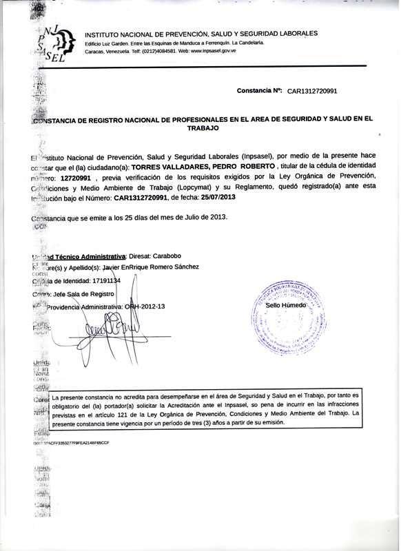 Certificado Pedro Torres